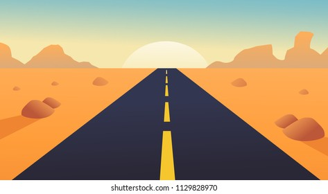 road with desert landscape, mountains and sunshine