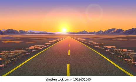 Road in the desert. A scene in perspective. Sunset