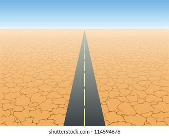 The road in the desert vector illustration
