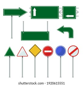 Road direction signs on poles set. Green metal blank billboards for highway isolated on white. Vector illustrations for city streets, urban traffic, driving concept
