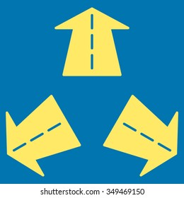 Road Directions vector icon. Style is flat symbol, yellow color, rounded angles, blue background.