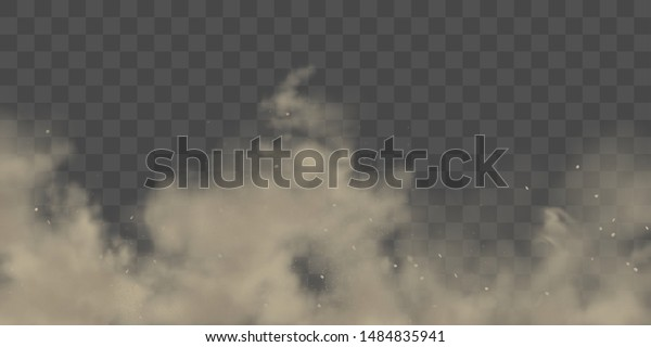 Road dust cloud with dirt or soil particles, brown color powder splash frozen motion 3d realistic vector illustration isolated on transparent background. City smog, dirty smoke texture. Air pollution