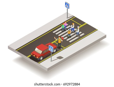 Road elements isometric composition with motorway section and uncontrolled pedestrian crossing with people and traffic signs vector illustration