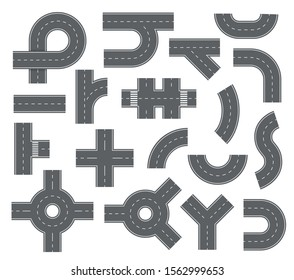 Road elements. Streets and roads with footpaths and crossroads for city map. Speedway navigation top view vector set