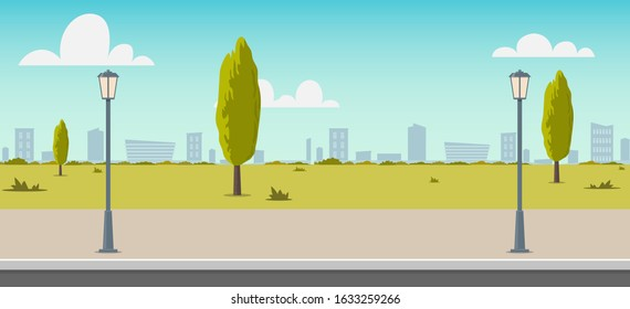 Road empty city street. Empty street or alley in a city park. Street on a Sunny summer day. Flat Vector Illustration, background for an animated video, footage