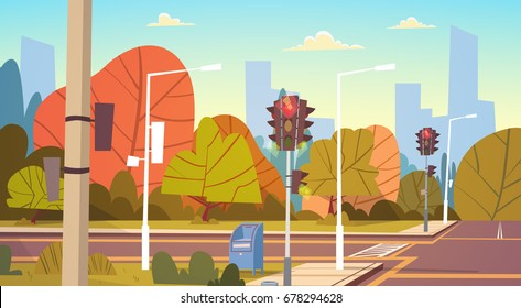 Road Empty City Street With Traffic Lights Flat Vector Illustration