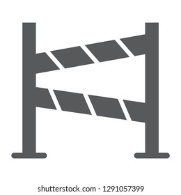 Road fence glyph icon, construction and border, barrier sign, vector graphics, a solid pattern on a white background, eps 10.