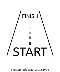 road with finish start on the beginning and finish text on the end
