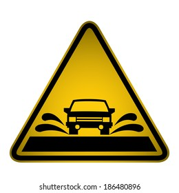Road Flooding Sign- Vector
