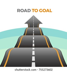 Road to goal abstract way from asphalt with marking vector