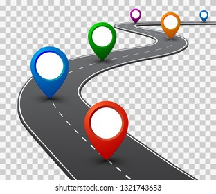 Road with GPS navigation. Car road, street, highway roadmap infographics – vector
