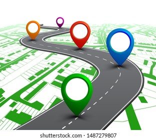 Road with GPS navigation on city map. Car road, street, highway roadmap infographics – stock vector