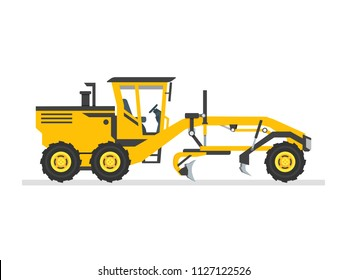 Road Grader Flat design Vector illustration. Heavy equipment, machinery, industry, engineering, road construction. Isolated on white background.