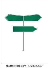 Road green blank signs. Crossroads.