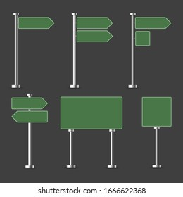 Road green traffic sign. Blank board with place for text. Mockup. Direction. Vector illustration