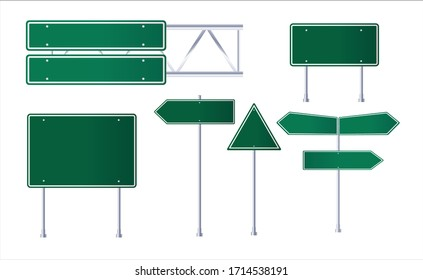 Road green traffic sign. Blank board with place for text.Isolated on white information sign.Mockup