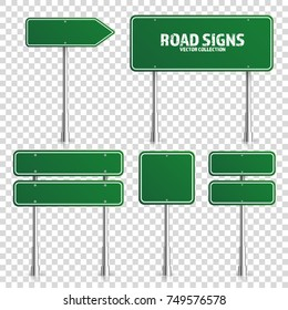 Road green traffic sign. Blank board with place for text.Mockup. Isolated on transparent background information sign. Direction. Vector illustration.