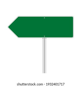 Road green traffic sign. Mockup - blank board with place for text, information and direction. Vector illustration isolated on white background.