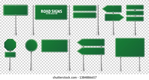 Road green traffic signs set. Blank board with place for text. Mockup. Isolated information sign. Direction. Vector illustration