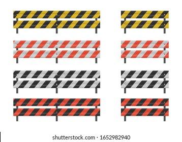 Road guardrail, highway steel barrier vector illustration
