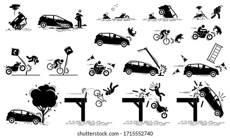 Road hazard, car accident, and traffic mishap. Vector icons of car driver stuck in mud, vehicle drive into water, bang onto tree, crash on traffic sign, motorcycle knock on dog, and fall off bridge.