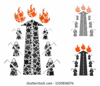 Road to hell fire composition of trembly pieces in different sizes and color tones, based on road to hell fire icon. Vector uneven pieces are combined into composition.