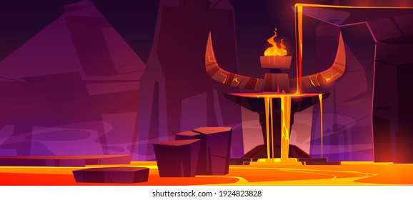 Road to hell, infernal hot cave with lava flow from altar with huge devil stone horns and burning fire on top, rocks path in liquid magma going to blazing satan sanctuary, Cartoon vector illustration