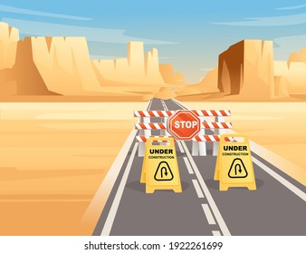 Road to highway in desert landscape with under construction sign and flat mountains sunny day with clear sky vector illustration