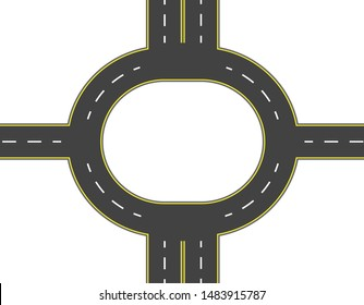 Road, highway, roundabout top view. Two and four lane roads with markings. Vector illustration