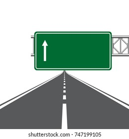 Road highway sign. Green board with arrow and road with markings on white background