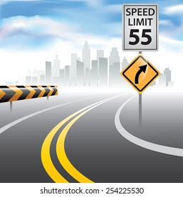 Road to horizon with a speed limit sign on a side. Vector illustration