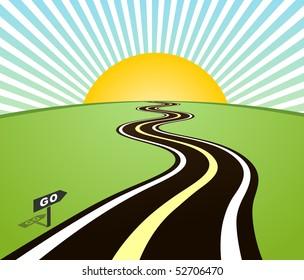 Road horizon to sun. Vector illustration