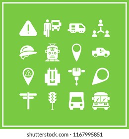 road icon. 16 road vector set. school bus, pick up truck, backpack and delivery truck icons for web and design about road theme