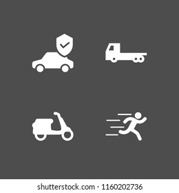 road icon. 4 road set with car, scooter, runer silhouette running fast and truck vector icons for web and mobile app