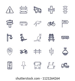 Road icon. collection of 25 road outline icons such as airport bus, cangaroo, truck with hook, direction, route and phone, bicycle. editable road icons for web and mobile.
