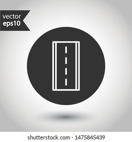 Road icon. Highway vector sign. Eps 10 flat symbol design. Round icon design