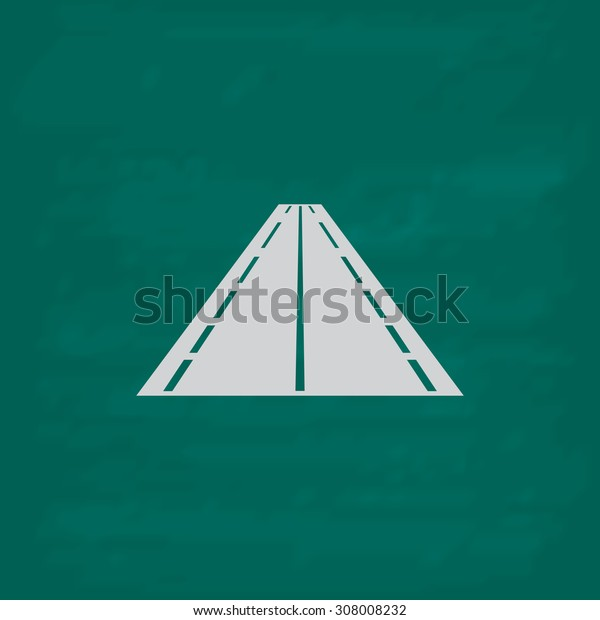 Road. Icon. Imitation draw with white chalk on green chalkboard. Flat Pictogram and School board background. Vector illustration symbol