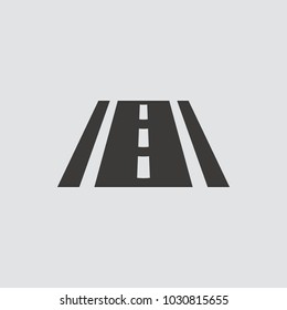 Road icon isolated of flat style. Vector illustration.