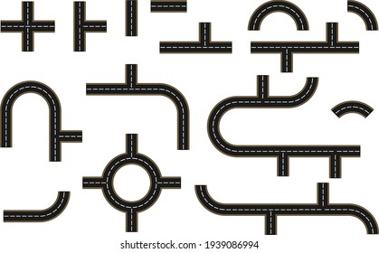 The road icon. Set of road elements isolated on white. Vector, cartoon illustration. Vector.