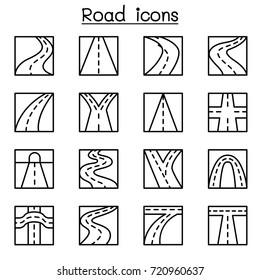 Road icon set in thin line style