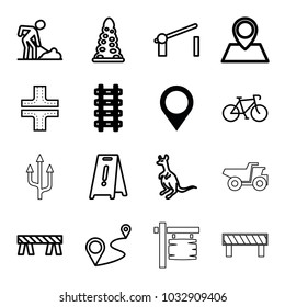 Road icons. set of 16 editable outline road icons such as map location, cangaroo, tunnel, road, wet floor, barrier, digging man, bicycle, distance, truck, arrow
