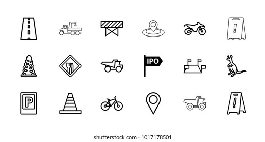 Road icons. set of 18 editable outline road icons: direction, parking, cangaroo, barrier, tunnel, wet floor, cone, truck, road, locations, restaurant, bicycle, motorbike