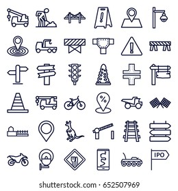 Road icons set. set of 36 road outline icons such as direction   isolated, cangaroo, barrier, tunnel, wet floor, map location, cone, truck with hook, digging man, truck
