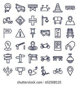 Road icons set. set of 36 road outline icons such as airport bus, parking, cangaroo, barrier, tunnel, pin, map location, cone, truck with hook, direction board, location pin