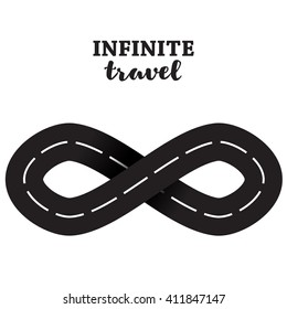 Road infinity sign. Endless road infinity sign. Loop way symbol. Graphic transportation concept vector illustration
