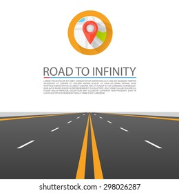 Road to infinity, Road vector highway, Vector illustration, Road background.