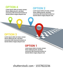 Road infographic concept with colorful map pointers on straight perspective road and four options with text. Vector illustration