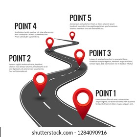 Road infographic. Curved road timeline with red pins checkpoint. Strategy journey highway with milestones vector concept