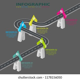 Road infographic. Information graphics template. Winding expressway timeline. 5 Steps, strategies or business processes. Vector illustration design.
