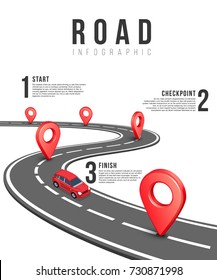Road infographic vector template with red isometric car. Business road infographic start finish and checkpoint illustration